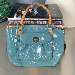 Women's Coach Embossed Leather Tote Bag Blue